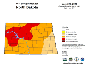 100% of North Dakota Currently Experiencing Drought